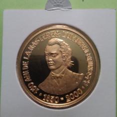 2000.04.24 - MIHAI EMINESCU (1850 - 1889) - 2000 LEI, aur 999 - Moneda Romania