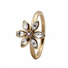 Inel, Marquise Flower, Argint placat cu Aur Galben 18k, Marimea 49 - Inel placate cu aur