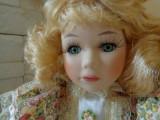 Fetita cu ursulet pe rochie, papusa de colectie din portelan H-41 cm