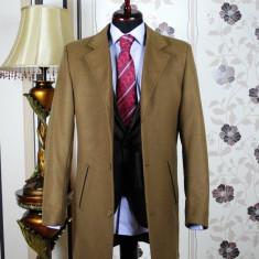 Palton barbati, maro, Slim Fit, Ucu Dima (Culoare: Maro, Marime palton: 50)