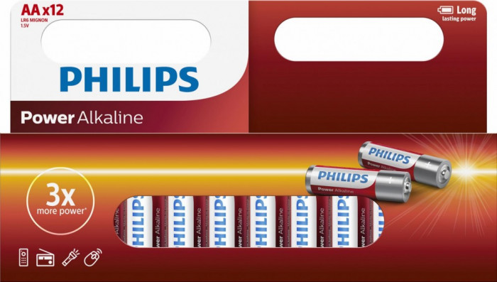 Philips Power Alkaline AA 12-wide foto mare