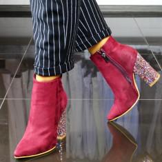 Botine dama, bordo cu toc glitter multicolor, Ucu Dima (Culoare: Bordo, Inaltime toc (cm): 10, Marime Incaltaminte: 40)