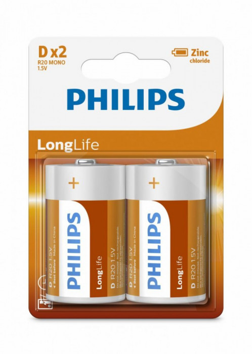 Philips LongLife D 2-blister foto mare