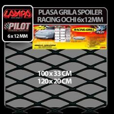 Plasa grila spoiler Racing Negru - Medium 6x12 mm - 120x20 cm Profesional Brand - Plasa aluminiu tuning