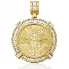 Medalion 50 pesos Centenariu dublu placat aur 24K cod MD50 - Pandantiv placate cu aur