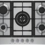 Plita incorporabila pe gaz BEKO HIAW75225SX, control butoane frontal, 4 arzatoare + 1 Wok,, Argintiu, Numar arzatoare: 4