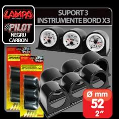 Suport 3 instrumente bord X3 (52 mm) - Negru Profesional Brand - Ceas Auto