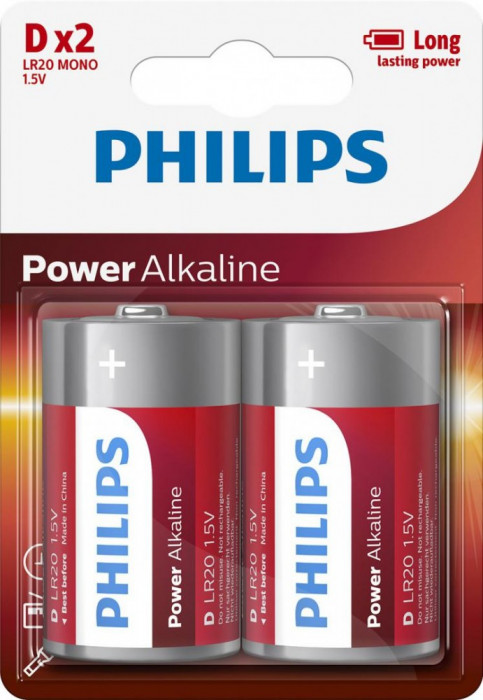 Philips Power Alkaline D 2-blister foto mare