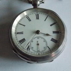 Ceas de buzunar din argint Brevet 7853 cu lant