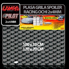 Plasa grila spoiler Racing Negru - Small 2x4 mm - 120x20 cm Profesional Brand - Plasa aluminiu tuning