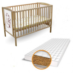 Patut 2 Ursuleti + Saltea Bio - Patut lemn pentru bebelusi First Smile