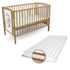 Patut 2 Ursuleti + Saltea Coco Lux - Patut lemn pentru bebelusi First Smile