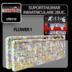 Suporti numere inmatriculare Flower 1 - 2buc Profesional Brand - Suport numar Auto