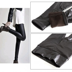 Pantaloni Colanti Tip Leggings Caldurosi pentru Dama, Marime S-M-L, Culoare Negru - Colanti dama