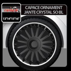 Capace ornament jante Crystal SO BL 4buc - Negru/Argintiu - 15' Profesional Brand - Capace Roti, R 15