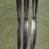Set 3 cutite inox, vechi, pentru completare serviciu tacamuri, T. GRATUIT - Cutit bucatarie
