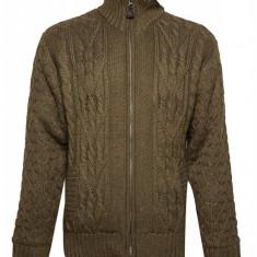 Jacheta tricotata Bjornson, cu fermoar, barbati, Olive