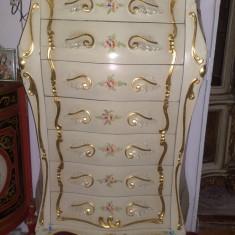 SAPTAMANAL/comoda 7 sertare, stil baroc, SILIK, ITALIA 1, 4m H, lemn masiv, Dupa 1950
