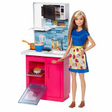 Jucarie Bucatarie Barbie cu papusa Barbie DVX54 Mattel