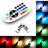 Set Led Pozitie T10 6SMD RGB Multicolor cu telecomanda