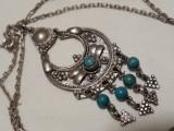 Rar Medalion argint TRIBAL AFGHAN cu TURCOAZ superb VECHI vintage pe Lant argint