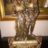 Superba sculptura foarte veche sec 19 din antimoniu aurit si bronzuri
