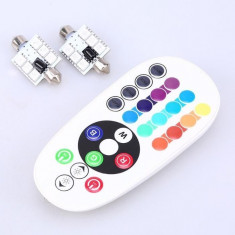 Set Becuri LED SOFIT 6 SMD 39MM Lumina Ambientala Auto -Multicolor RGB