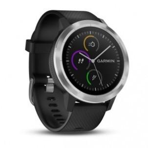 Ceas Smartwatch Garmin vivoactive 3, GPS, Argintiu, curea silicon neagra foto mare