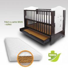 Patut cu Sertar Bruni + Saltea Bio - Patut lemn pentru bebelusi First Smile