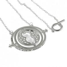 Pandantiv Medalion Lantisor Harry Potter clepsidra Time Turner Argintiu cal b