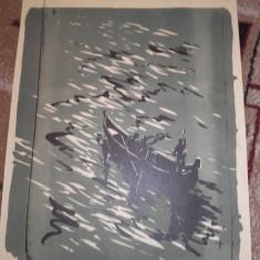 MARCEL CHIRNOAGA- LITOGRAFIE COLOR - Pictor roman, Abstract, Cerneala