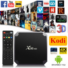 TV BOX X96 Mini, 4K-3D, S905W Quad 64bit, 1Gb, 8GB, Android 7.1, Wi-fi, Kodi 17.6+Addon - Media player