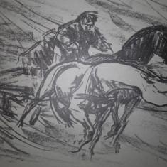 MARCEL CHIRNOAGA- LITOGRAFIE- PRIN VISCOL, Abstract, Cerneala