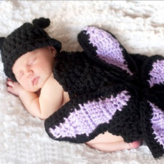 Costum bebelusi crosetat broscuta/fluture sedinte foto,botez