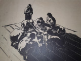 "MARCEL CHIRNOAGA- LITOGRAFIE  ""LA MASA"", Abstract, Cerneala"