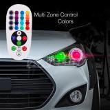 Set 2 Becuri LED T10 Pozitie RGB 12SMD cu Telecomanda - Accesorii Auto