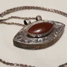 MEDALION argint KUCHI etnic KAZAK nomad TRIBAL AFGHAN cu CARNEOL+ Lant argint