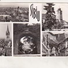 Bnk cp Sibiu - Vedere - uzata - Carte Postala Transilvania dupa 1918, Circulata, Printata