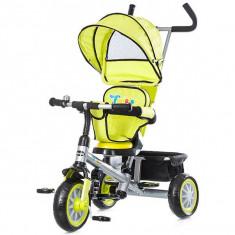 Tricicleta cu copertina si sezut reversibil Chipolino Twister Lime - Tricicleta copii