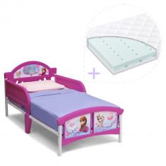 Set pat cu cadru metalic Disney Frozen si saltea pentru patut Dreamily - 140 x 70 x 10 cm - Pat tematic pentru copii, Multicolor