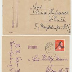 Austria eliberata in 1945 2x plicuri cu timbre Hitler cu supratipare provizorii