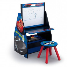 Set 2 in 1 organizator si birou cu tablita si scaun Cars 3 Activity Center - Set mobila copii