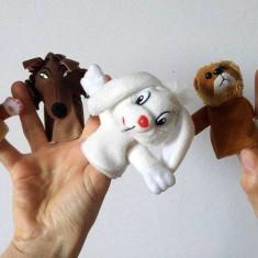 Lot 5 marionete pe deget, teatru de papusi, pisica, lup, iepure, leu, calut mare - Jucarii plus