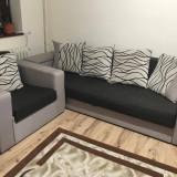 Canapea fără trasuri cu brațe drepte + fotoliu extensibil DIANA