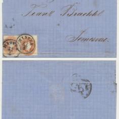 Austria 1862 plic clasic Mistek spre Timisoara Franz Josef timbre 10 kr & 15 kr