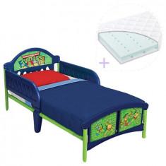 Set pat cu cadru metalic Testoasele Ninja si saltea pentru patut Dreamily - 140 x 70 x 10 cm - Pat tematic pentru copii, Multicolor