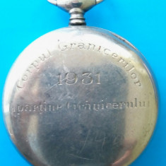 SV * Ceas de Buzunar TELLUS ARGINT Elvetia 1931 <Corpul Granicerilor Romania>