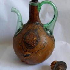 Sticla vintage,deosebita, de decor, imbracata in piele, 30cm inaltime, colectie