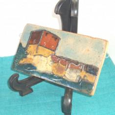 Tablou ceramica de studio UNICAT 2 emailat pictat manual - Nis Stougaard Svaneke