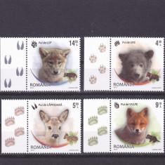 PUI DE ANIMALE, SERIE COMPLETA CU VIGNETA PE STANGA, 2012, MNH, ROMANIA. - Timbre Romania, Fauna, Nestampilat